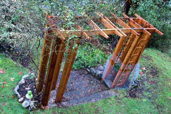 Rose arbour with top installed, Bowen Island, BC