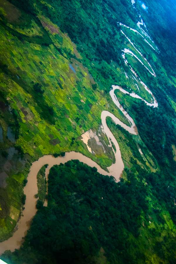 Snaking river seen from the UN flight to Douala, Cameroon