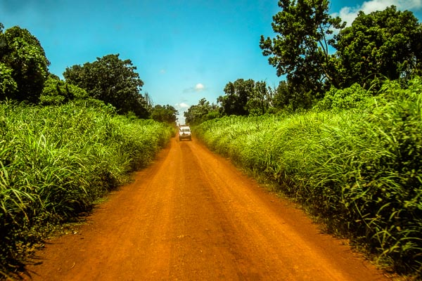 An MSF Land Cruiser driving from Bambari to Grimari in Ouaka, Central African Republic