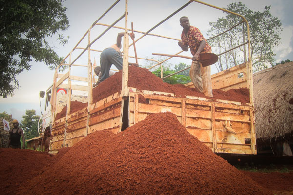 Unloading laterite at the MSF compound in Grimari