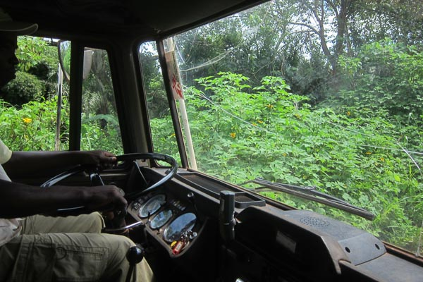 Yvon driving the DAF truck