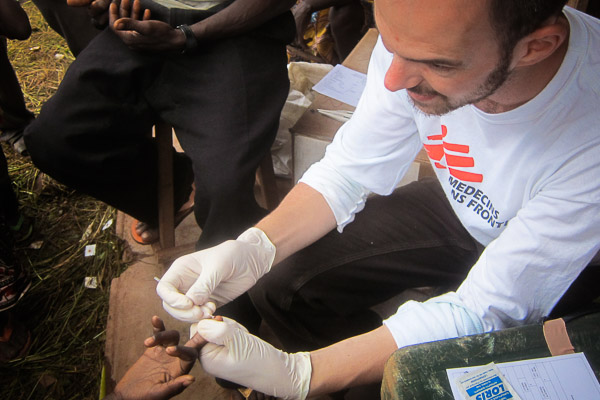 One of hundreds of fingers I pricked to test for Malaria in Yamalé, Central African Republic
