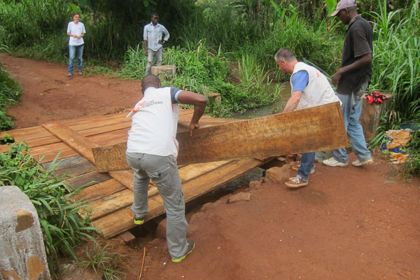 Cyrille and Mark removing our portable bridge deck planks
