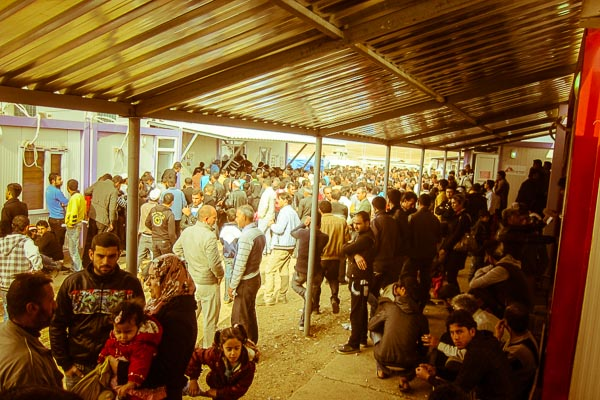 Crowds fill the area between the MSF primary health centre and UNHCR refugee registration area, November 2012