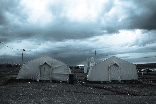 Two surviving tents at the MSF-supported primary health centre, Domiz Refugee Camp, March 2013