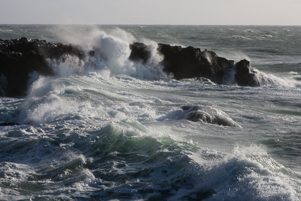 Waves crashing on the rocks near Cabo da Roca, Portugal