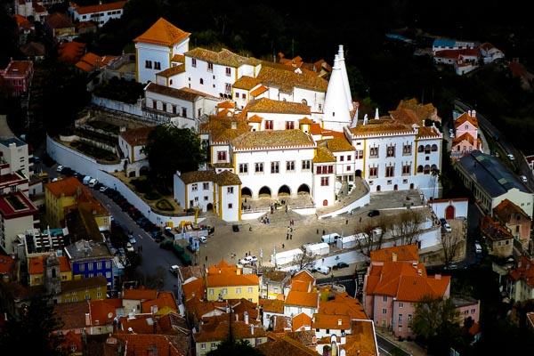 National Palace of Sintra, seen from the Castle of the Moors