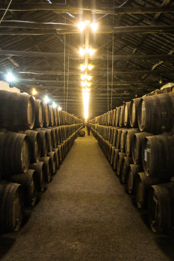Hundreds of barrels of Taylor's port ageing in the cellars at Porto