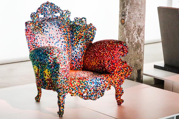 Colourful chair at the Design and Fashion Museum, Lisbon, Portugal