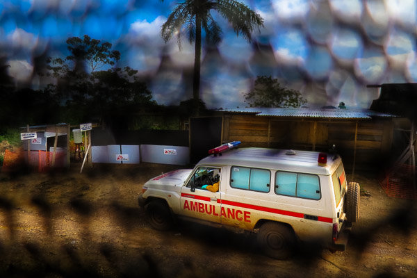 An ambulance arrives carrying suspected Ebola patients in Kailahun, Sierra Leone