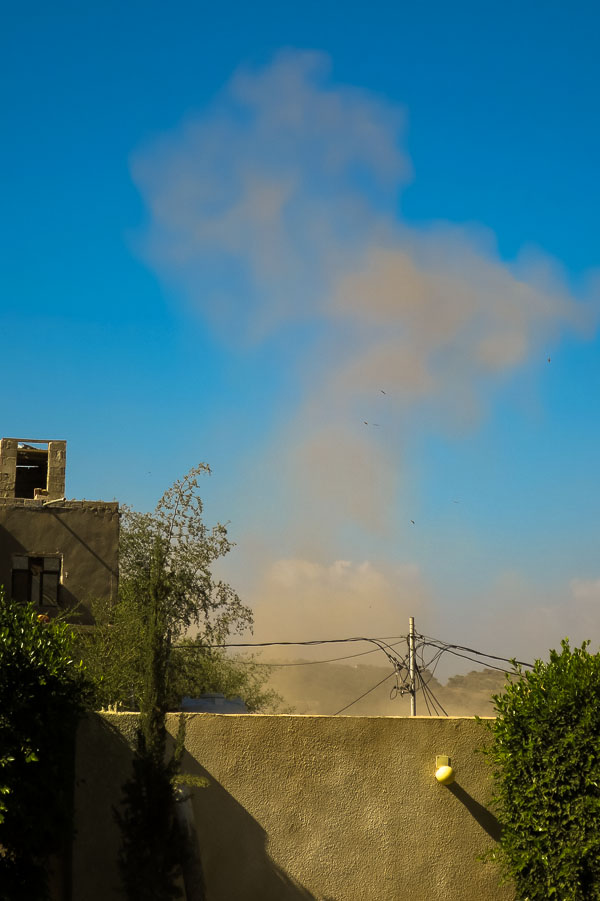 Cloud of smoke after an airstrike in Taiz, Yemen on 02 December 2015