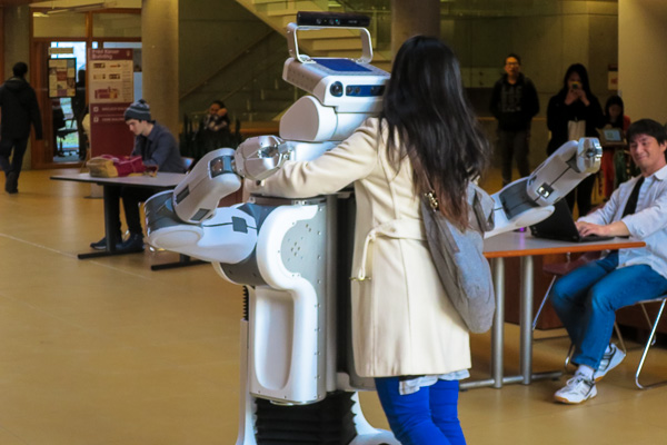 Robot hugging a human at UBC
