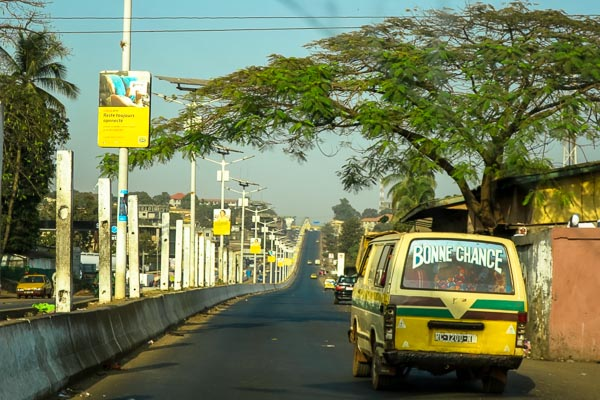 Minibus taxi in Conakry, capital of Guinea