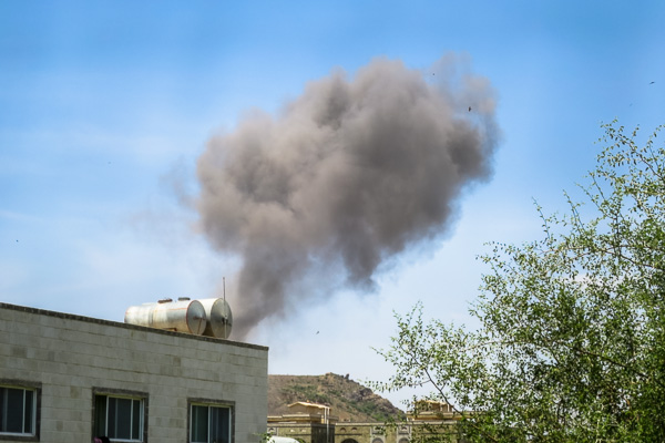 Smoke cloud after an airstrike in Taiz, Yemen
