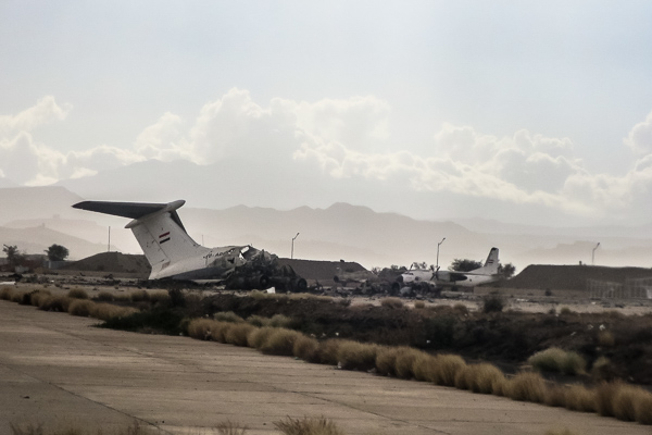 Destroyed passenger or cargo jet at Sana'a International Airport, Yemen