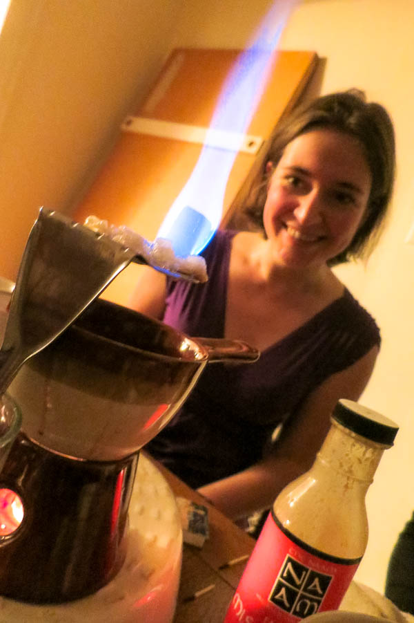 Sonja with her spatula-turned-sugar melting tool for making mulled wine