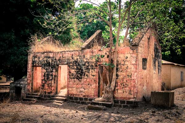 Abandoned French colonial administrative buildings in Kouroussa, Guinea