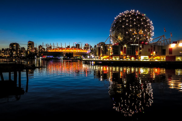 False Creek and Science World at night