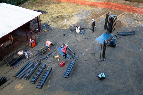 Welding benches for the outdoor waiting area
