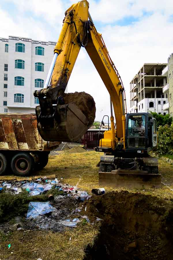Excavating pits for the hospital waste zone