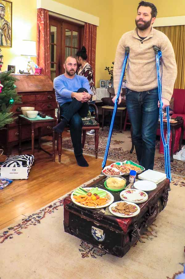 Matt shows off his accELeration speedcrutches on Christmas