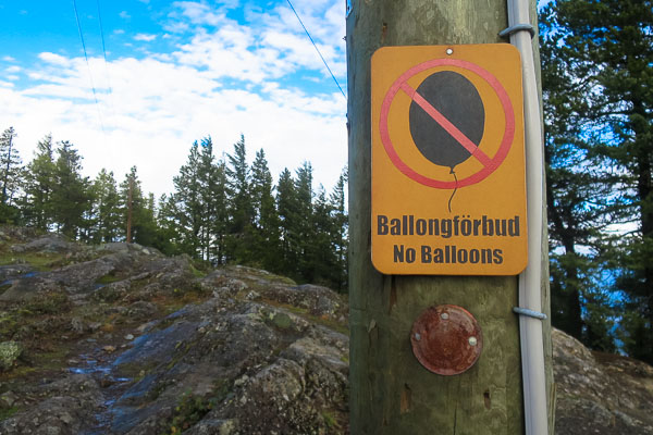 Balloons forbidden on the North Summit, Mount Gardner, Bowen Island