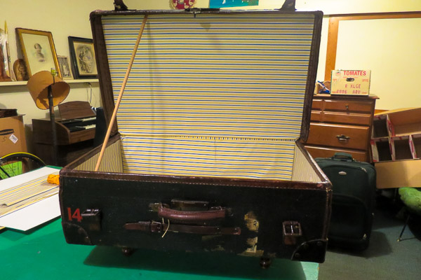 Old suitcase after restoration, interior