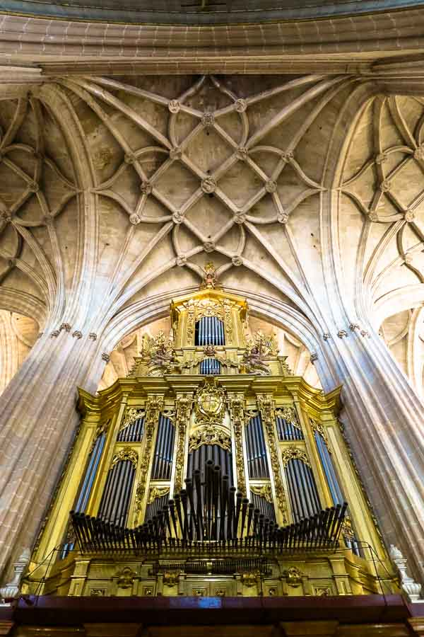 Organ inside Segovia Cathedral, Spain