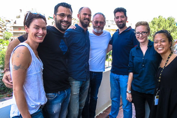 Lena Headey (Cersei Lannister), Orestis, me, Liam Cunningham (Ser Davos Seaworth), Ilias, Amy, Corita
