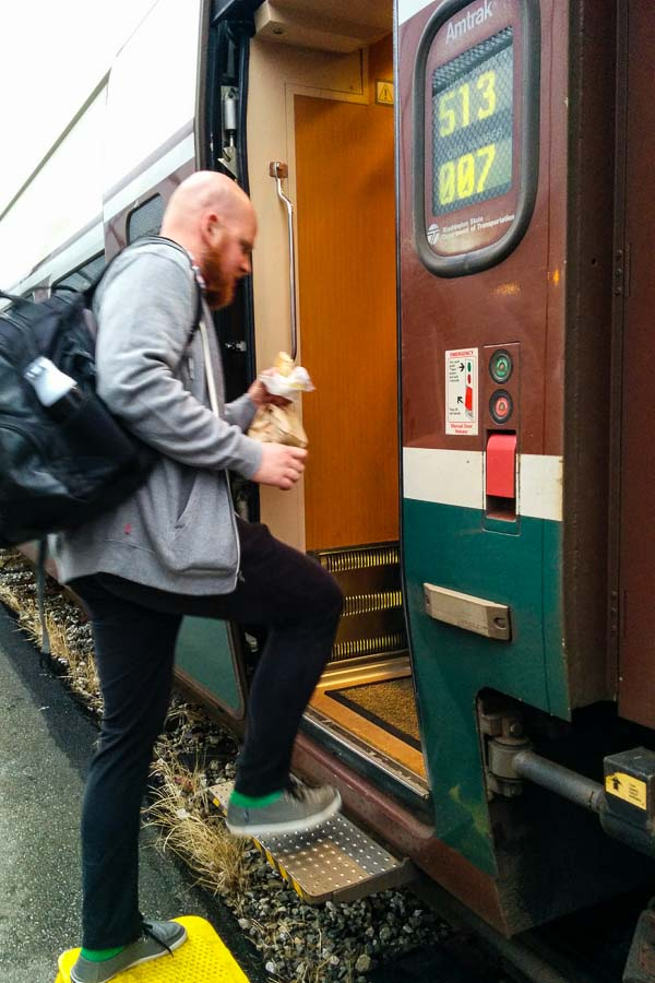 Stash boarding the train for Portland