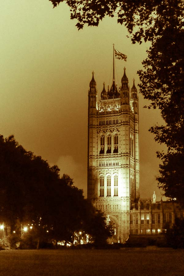 Victoria Tower, Palace of Westminster at night in London