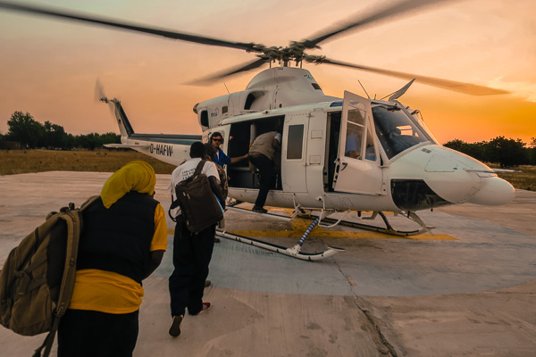 Boarding a Bell 412 in Monguno, Nigeria