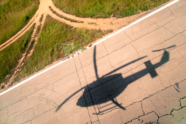 Takeoff from Maiduguri airport in a Bell 412 helicopter