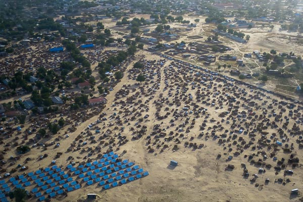 IDP camp from above, Monguno, Borno State, Nigeria