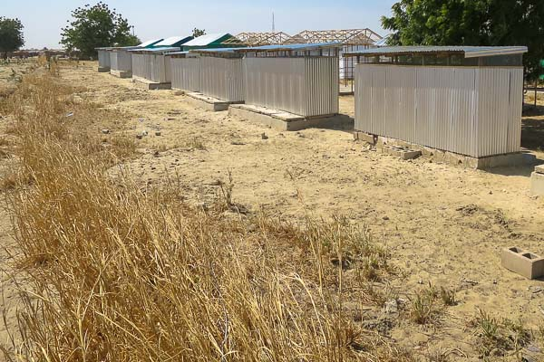 Latrine and shower blocks in a planned IDP camp, Monguno, Borno State, Nigeria