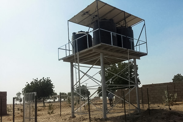Camp water distribution system with solar panels, Monguno, Borno State, Nigeria