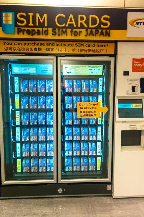 Data SIM card vending machine, Tokyo Narita Airport
